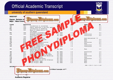 Australia University Of Southern Queensland Actual Match Transcript Free Sample From Phonydiploma