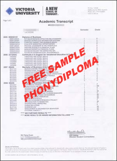Australia Victoria University Of Technology Actual Match Transcript Free Sample From Phonydiploma