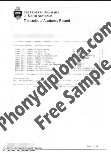 Flinders University Australia Actual Match Transcript Free Sample From Phonydiploma