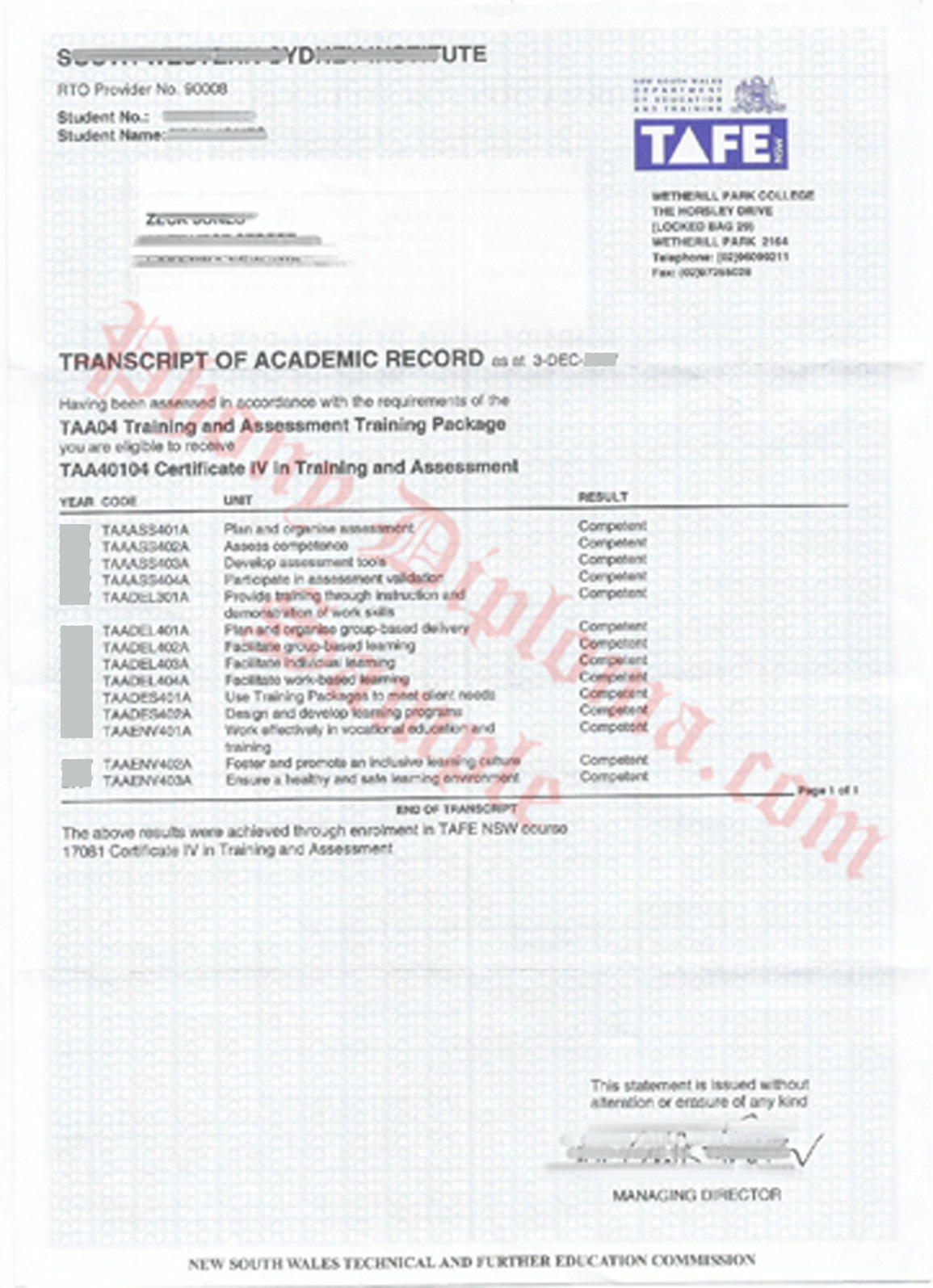 Tafe Transcripts  New South Wales Nsw Fake Diploma Sample From Phonydiploma