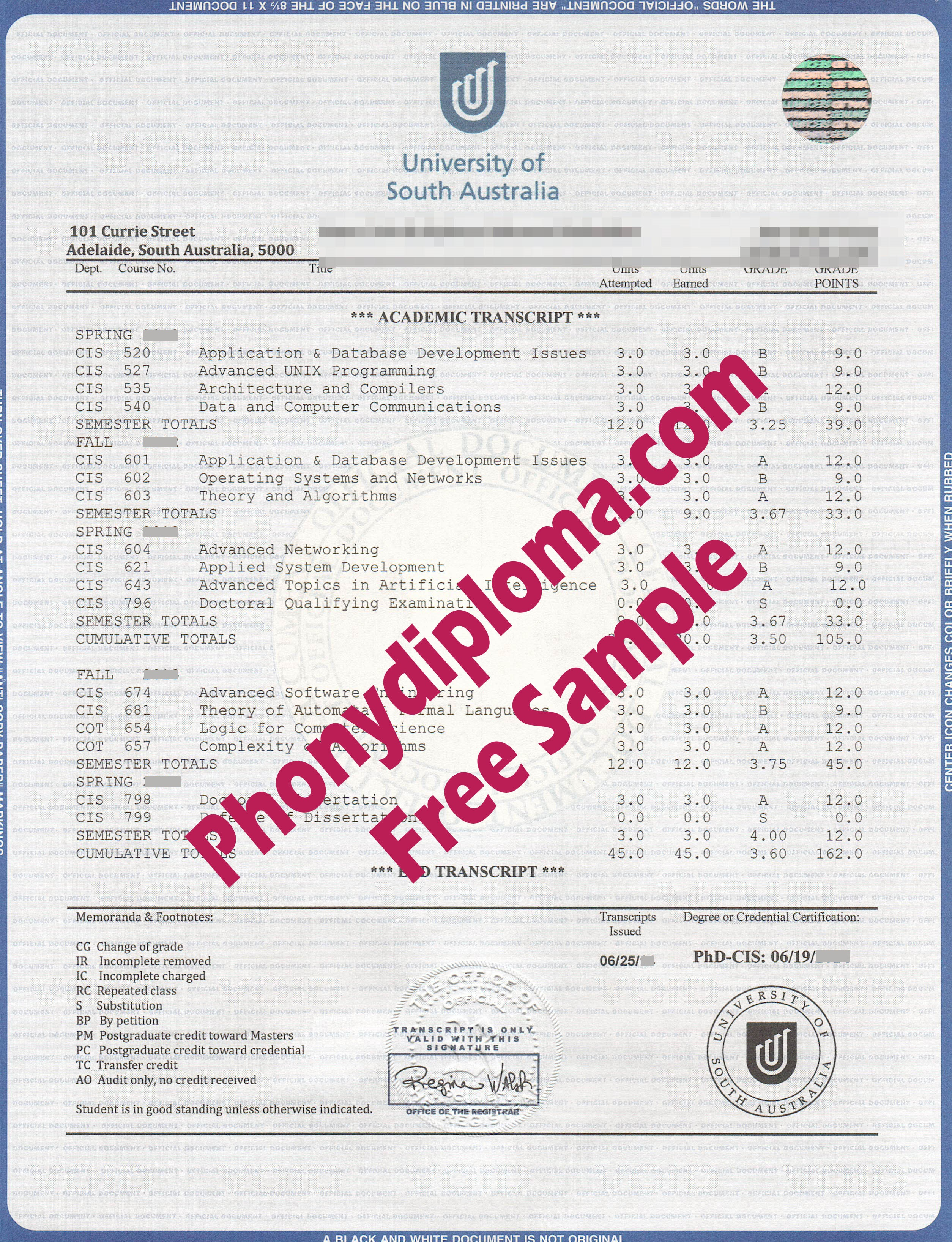 University Of South Australia House Design Transcript Free Sample From Phonydiploma