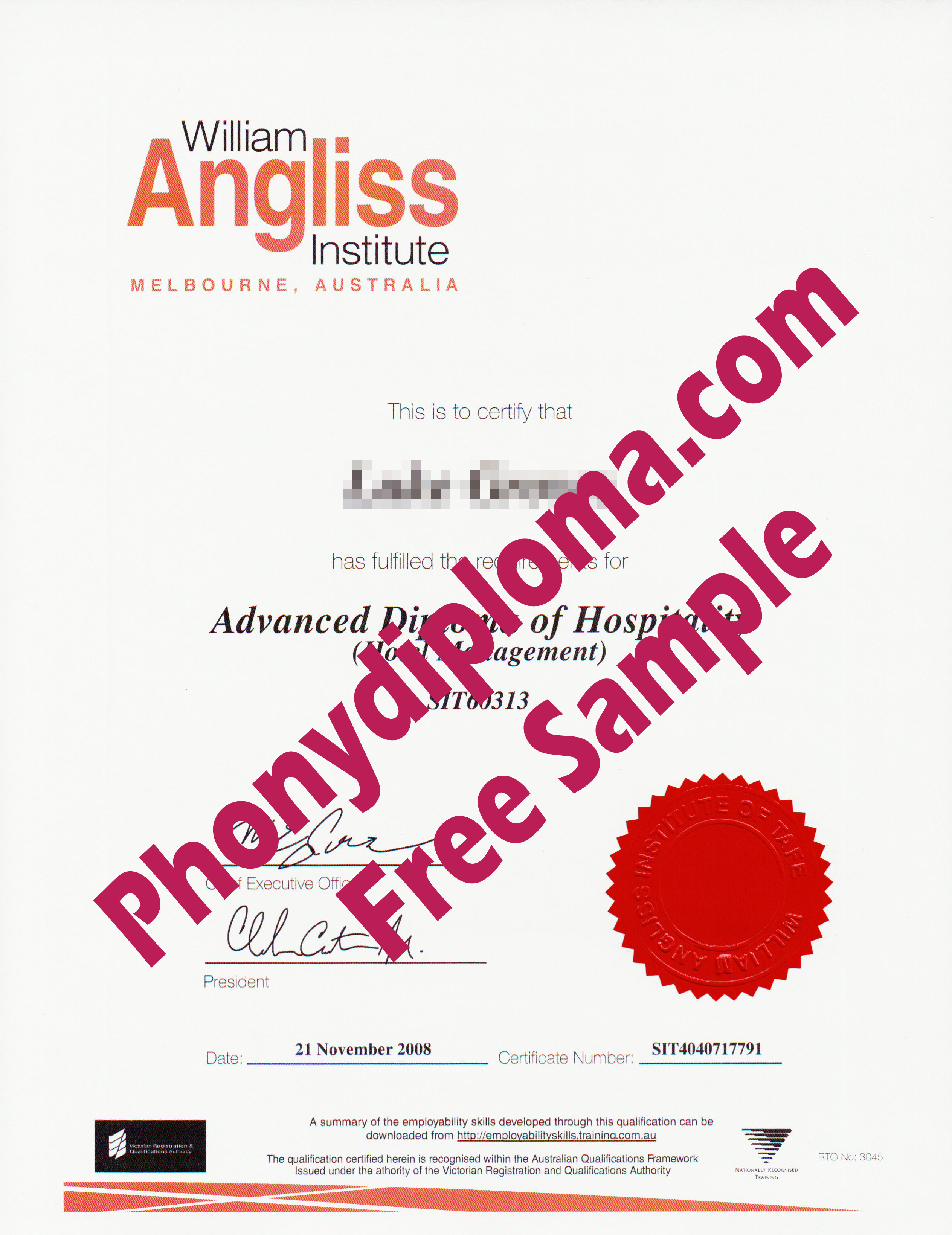 William Angliss Institute Australia Free Sample From Phonydiploma