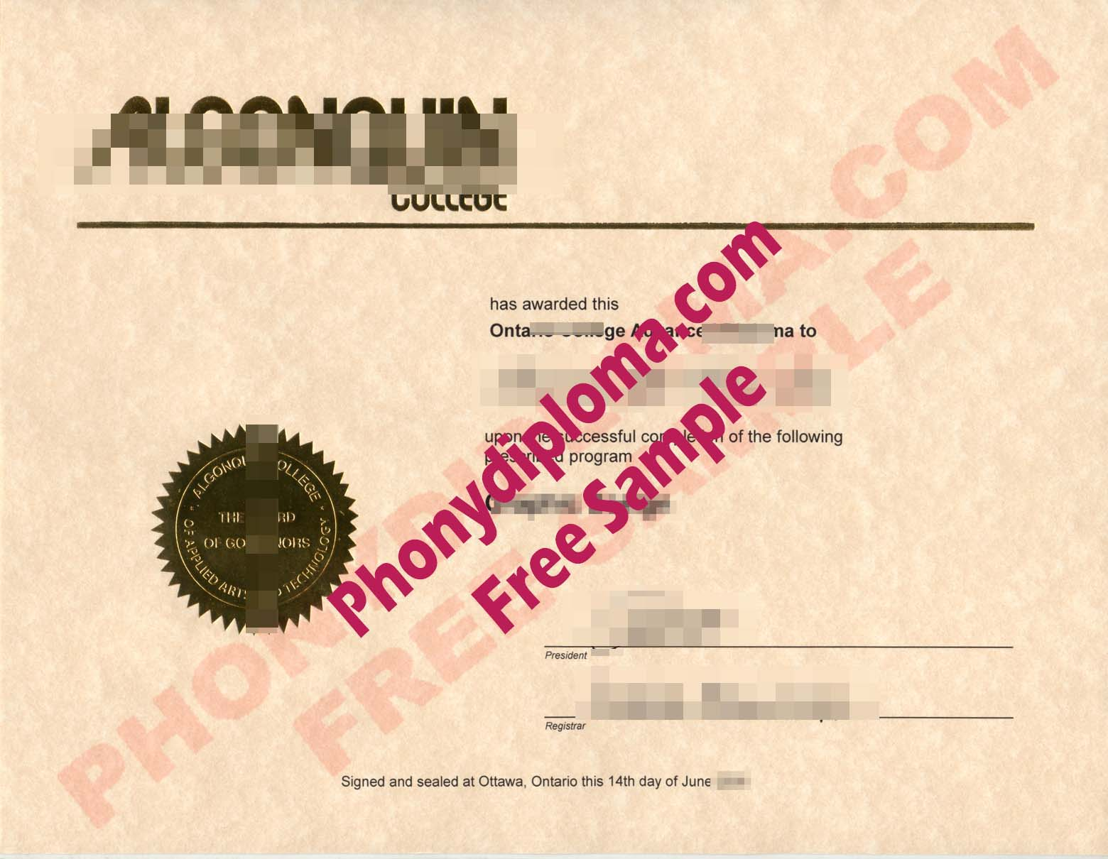 Algonquin College Free Sample From Phonydiploma