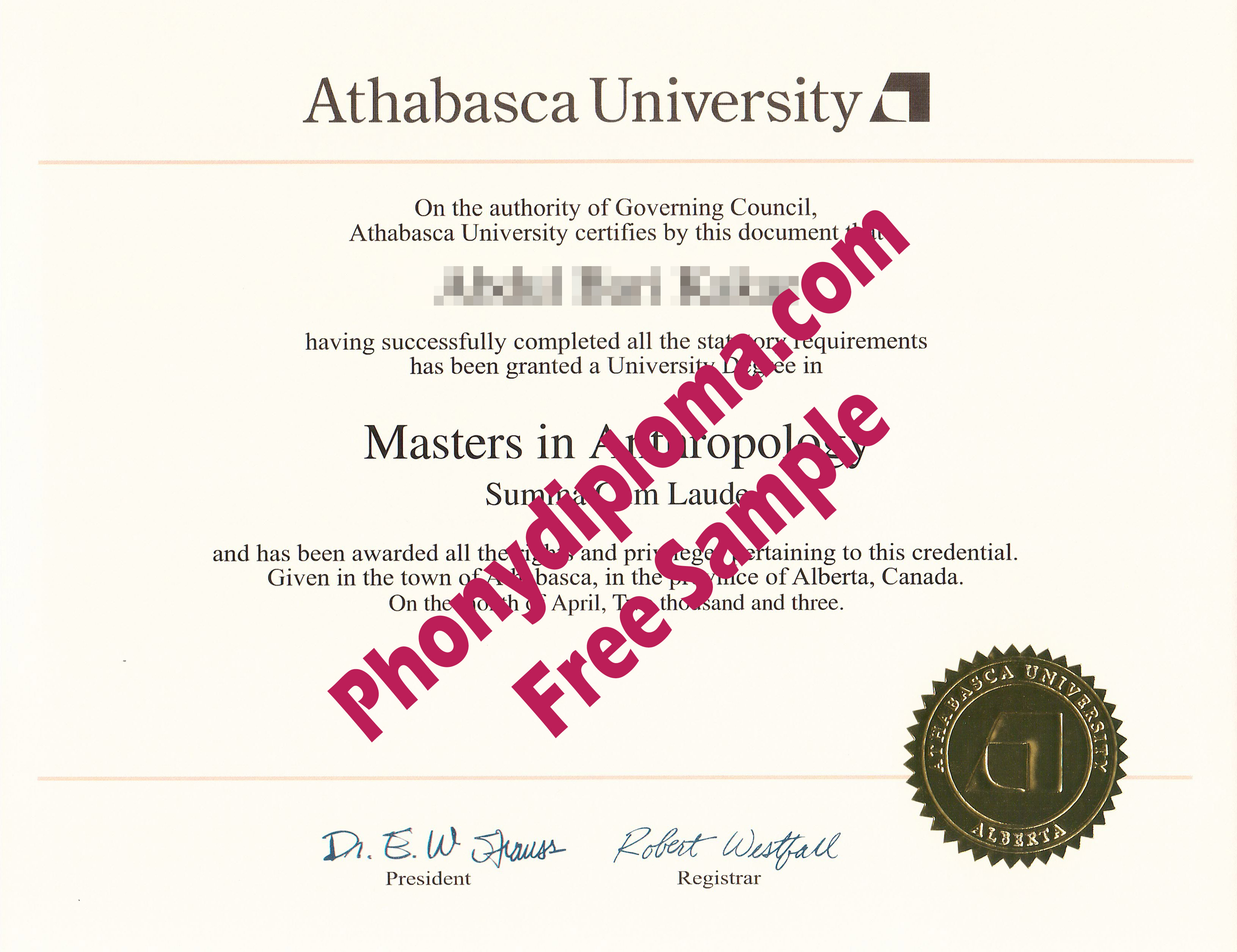 Athabasca University Free Sample From Phonydiploma