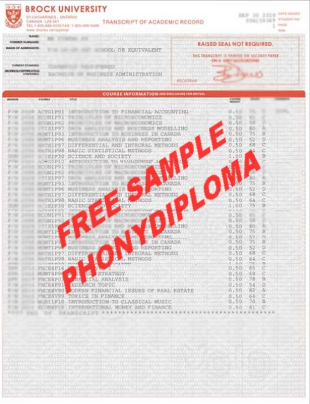 Brock University Actual Match Transcripts Free Sample From Phonydiploma