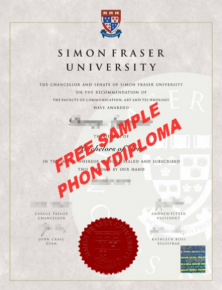 Simon Frasier University Diploma New Design Free Sample From Phonydiploma
