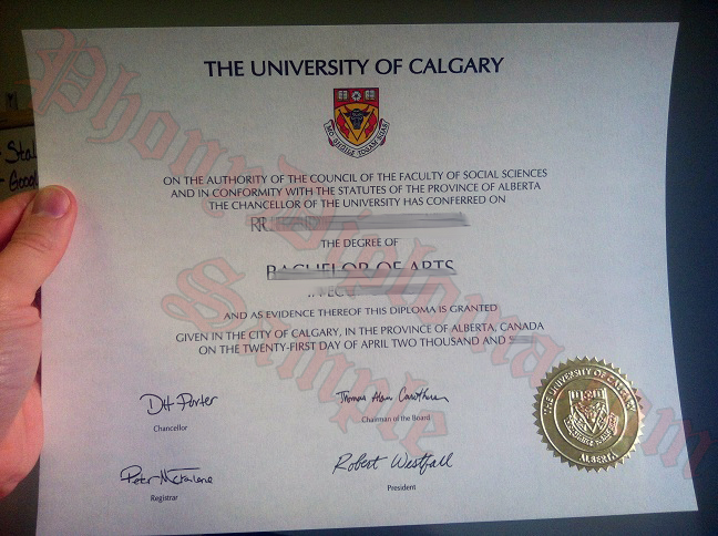 University Of Calgary Fake Diploma From Canadian School From Phonydiploma