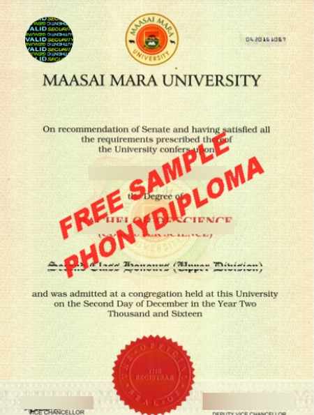 Africa Maasai Mara University Free Sample From Phonydiploma