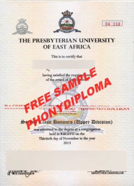 Africa Presybeterian University Of East Africa Free Sample From Phonydiploma