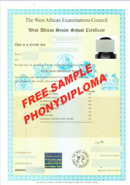 Africa The West African Examinations Certificate Free Sample From Phonydiploma