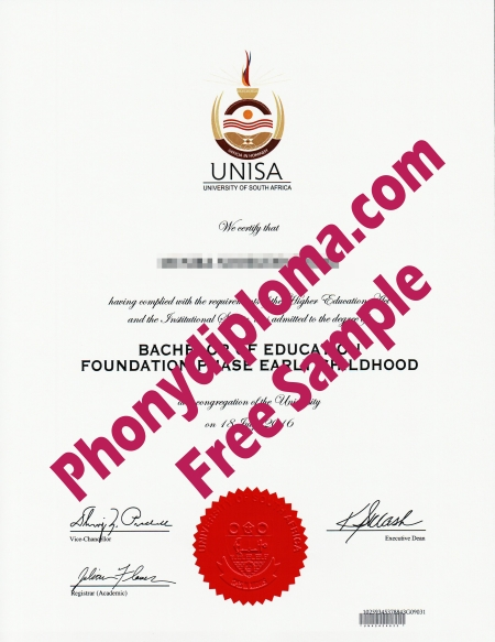 Africa Unisa University Of South Africa Free Sample From Phonydiploma