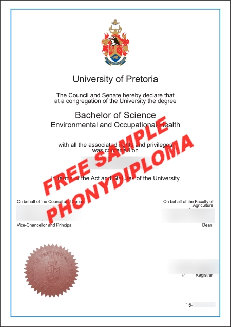 Africa University Of Pretoria Free Sample From Phonydiploma   Copy