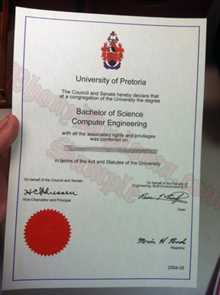 Africa University Of Pretoria Photo Free Sample From Phonydiploma