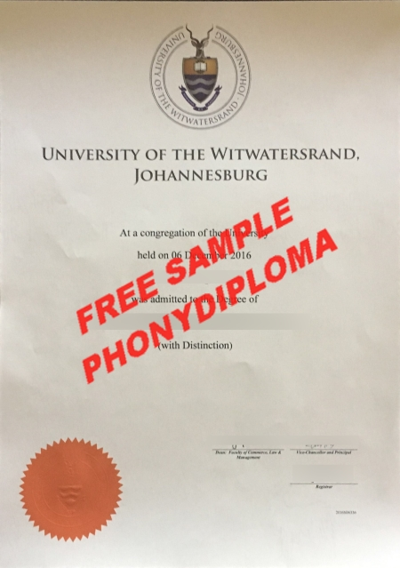 Africa University Of The Witwatersrand Free Sample From Phonydiploma