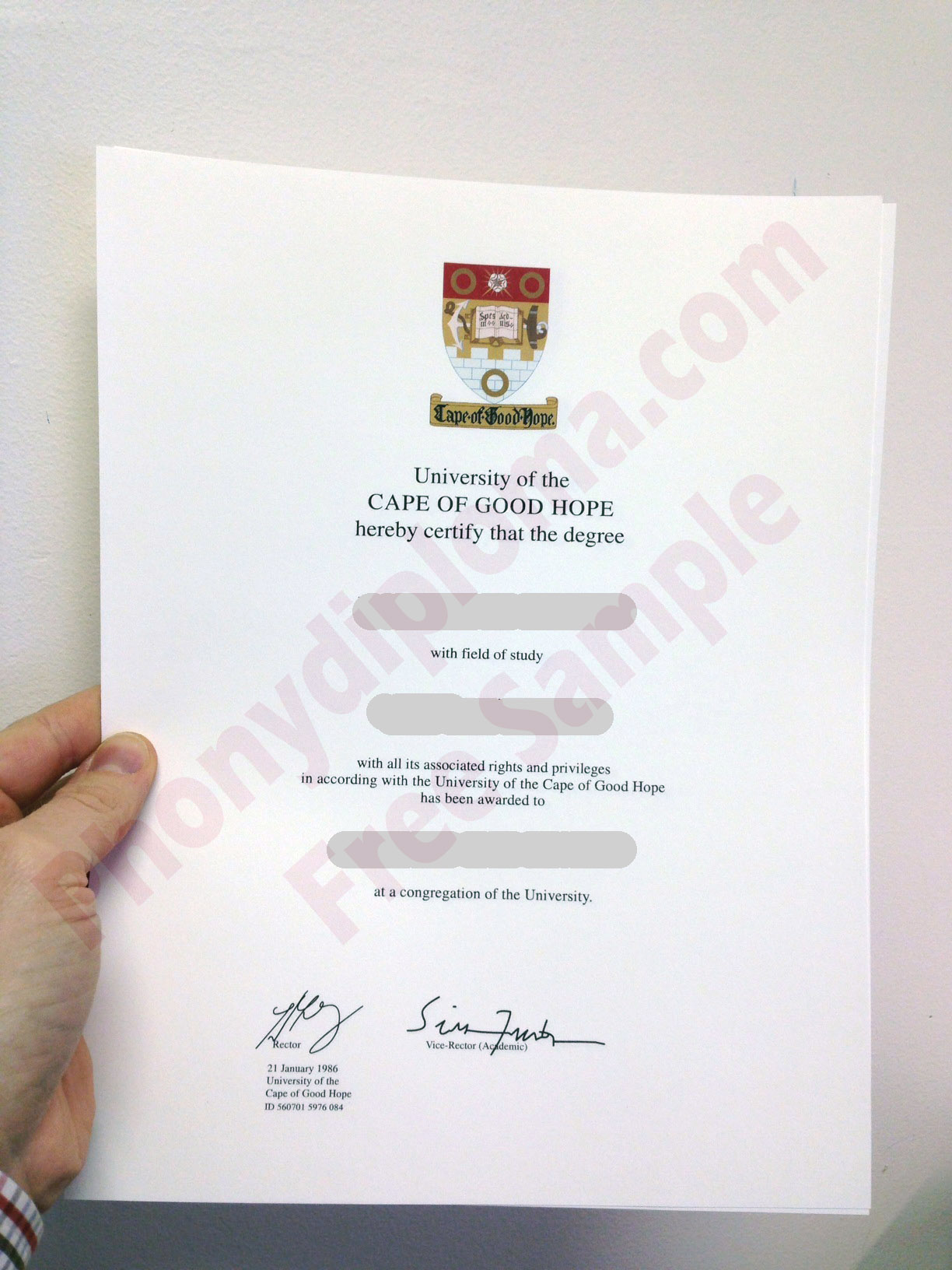 Cape Of Good Hope Africa Fake Diploma Sample From Phonydiploma