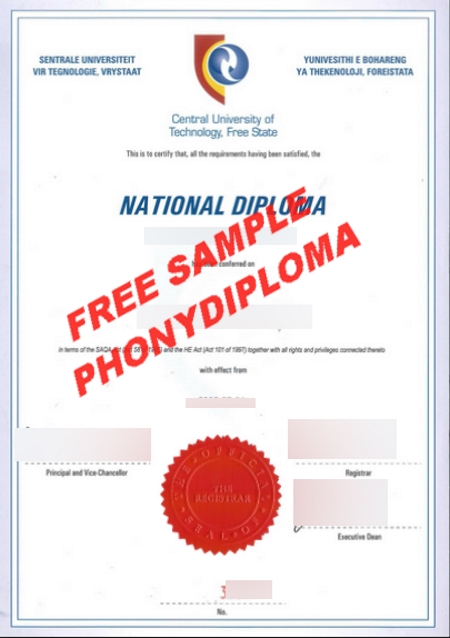 South Africa Central University Of Technology Free Sample From Phonydiploma