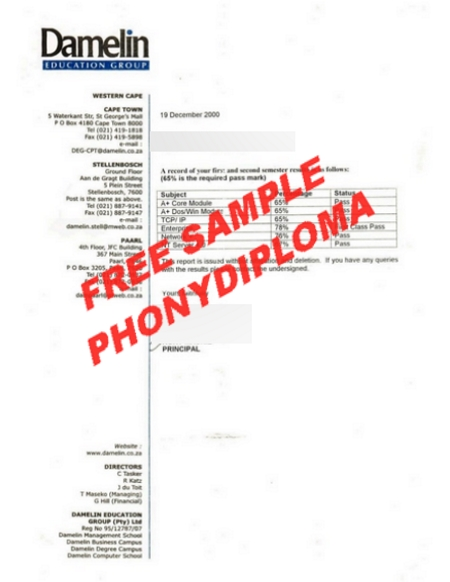 South Africa Damelin College Actual Match Transcript Free Sample From Phonydiploma