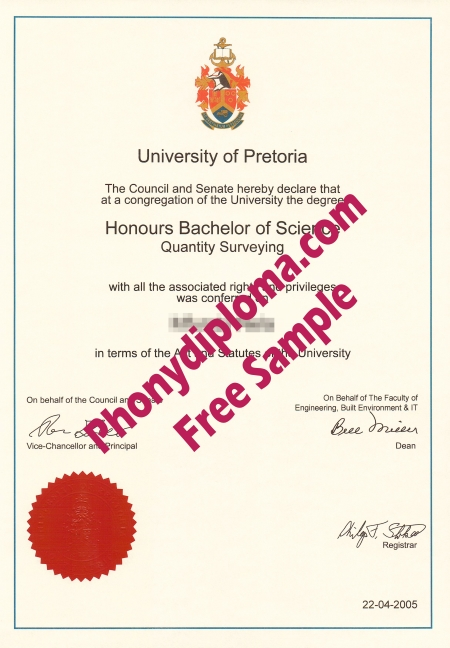 South Africa University Of Pretoria Free Sample From Phonydiploma