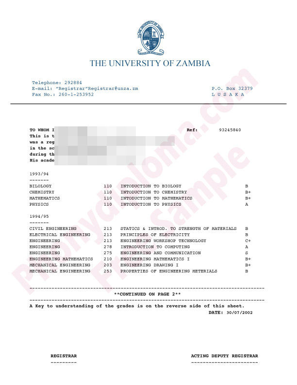 University Of Zambia Africa Fake Transcript Sample From Phonydiploma