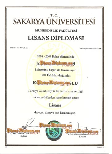 Sakarya Universitesi (2) - Fake Diploma Sample from Turkey