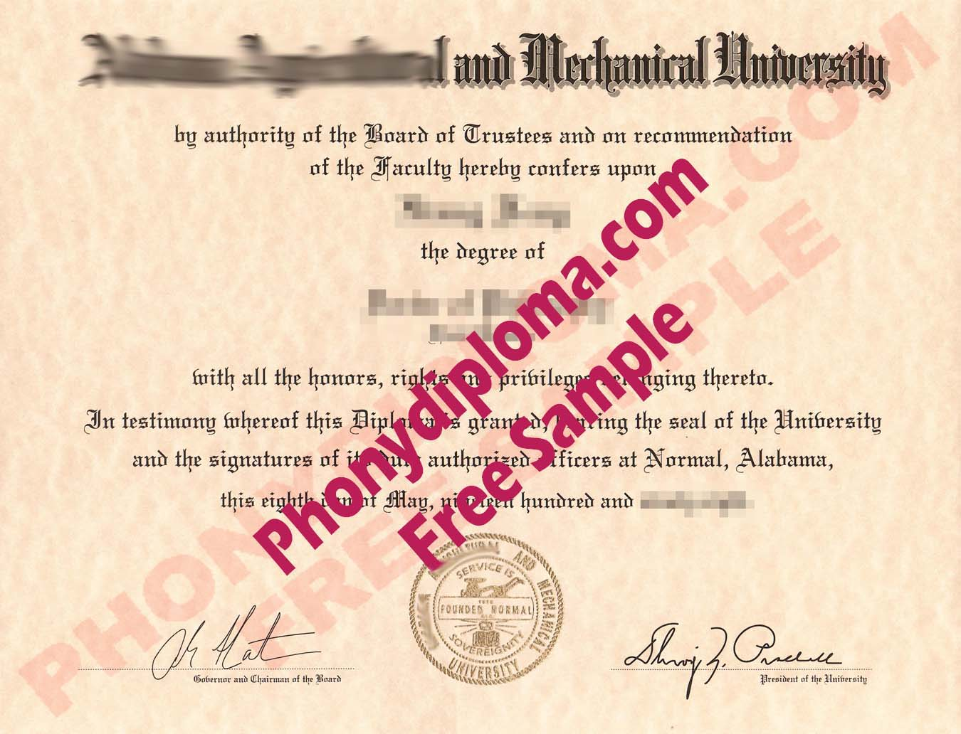 Alabama Agricultural And Mechanical University A&M Free Sample From Phonydiploma
