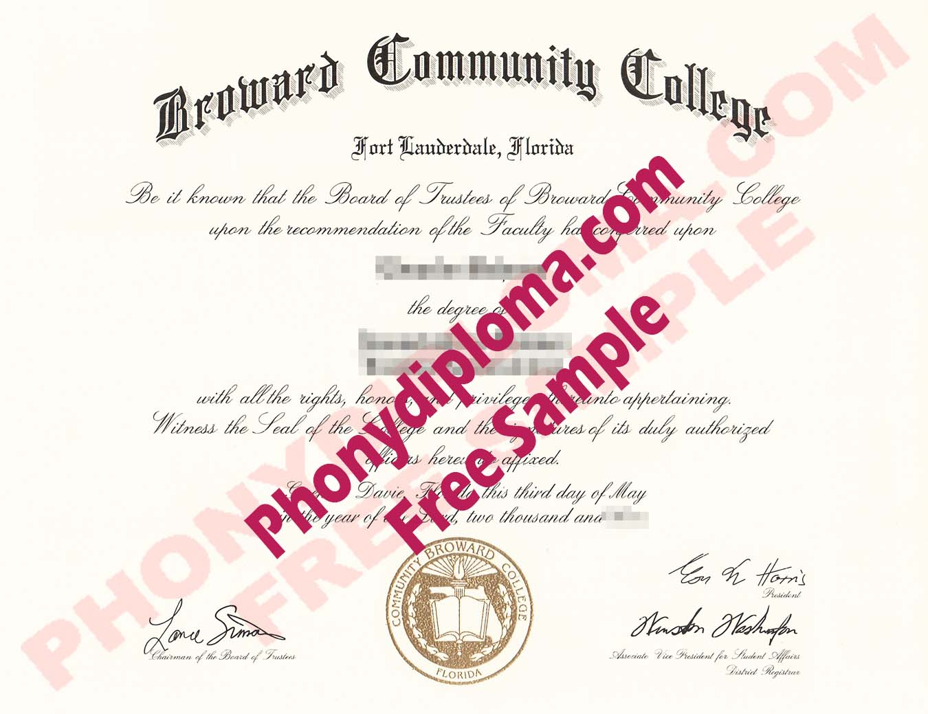 Broward Community College Free Sample From Phonydiploma