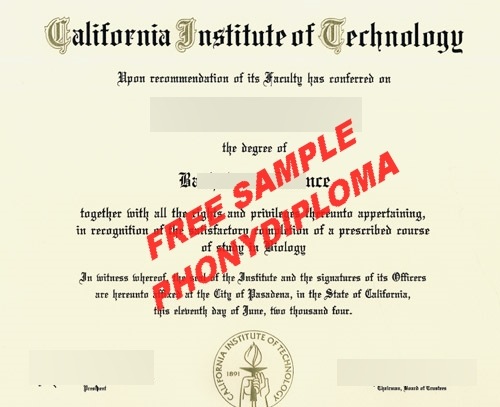 California Institute Of Technology Free Sample From Phonydiploma