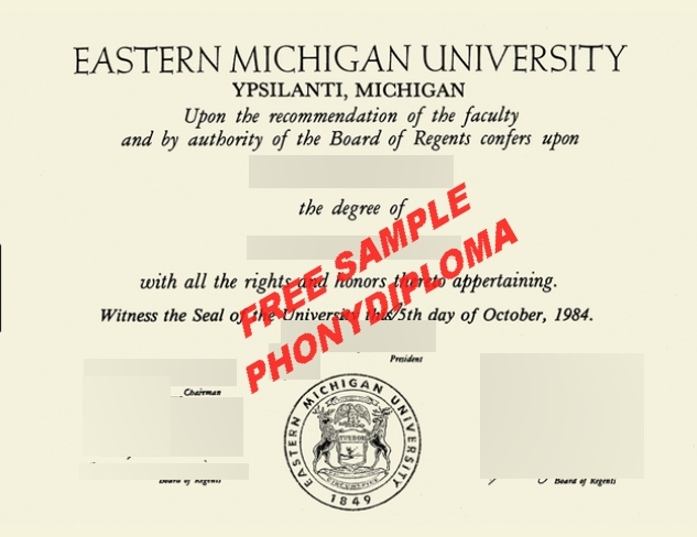 Eastern Michigan University Free Sample From Phonydiploma