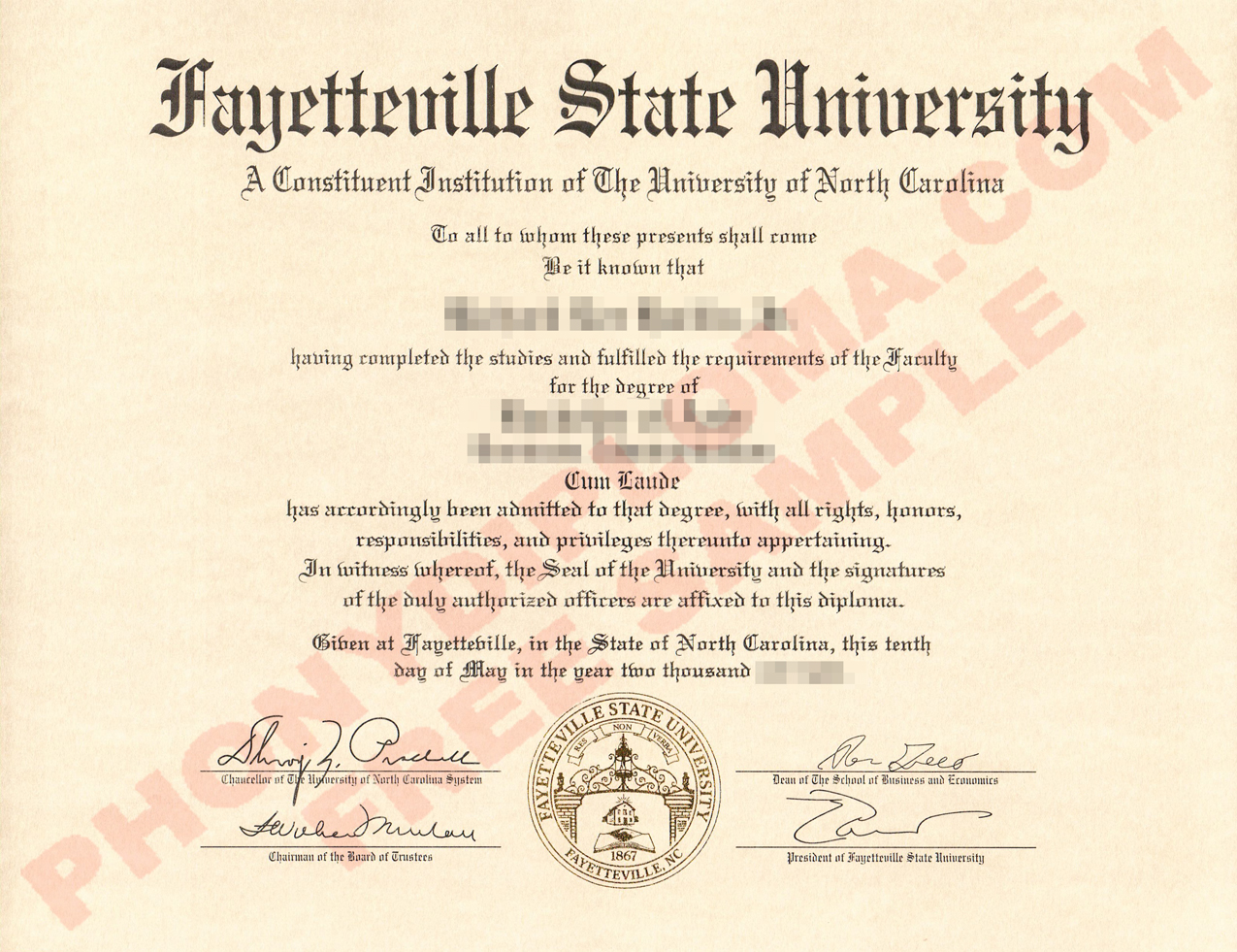 Fayetteville State University Free Sample From Phonydiploma