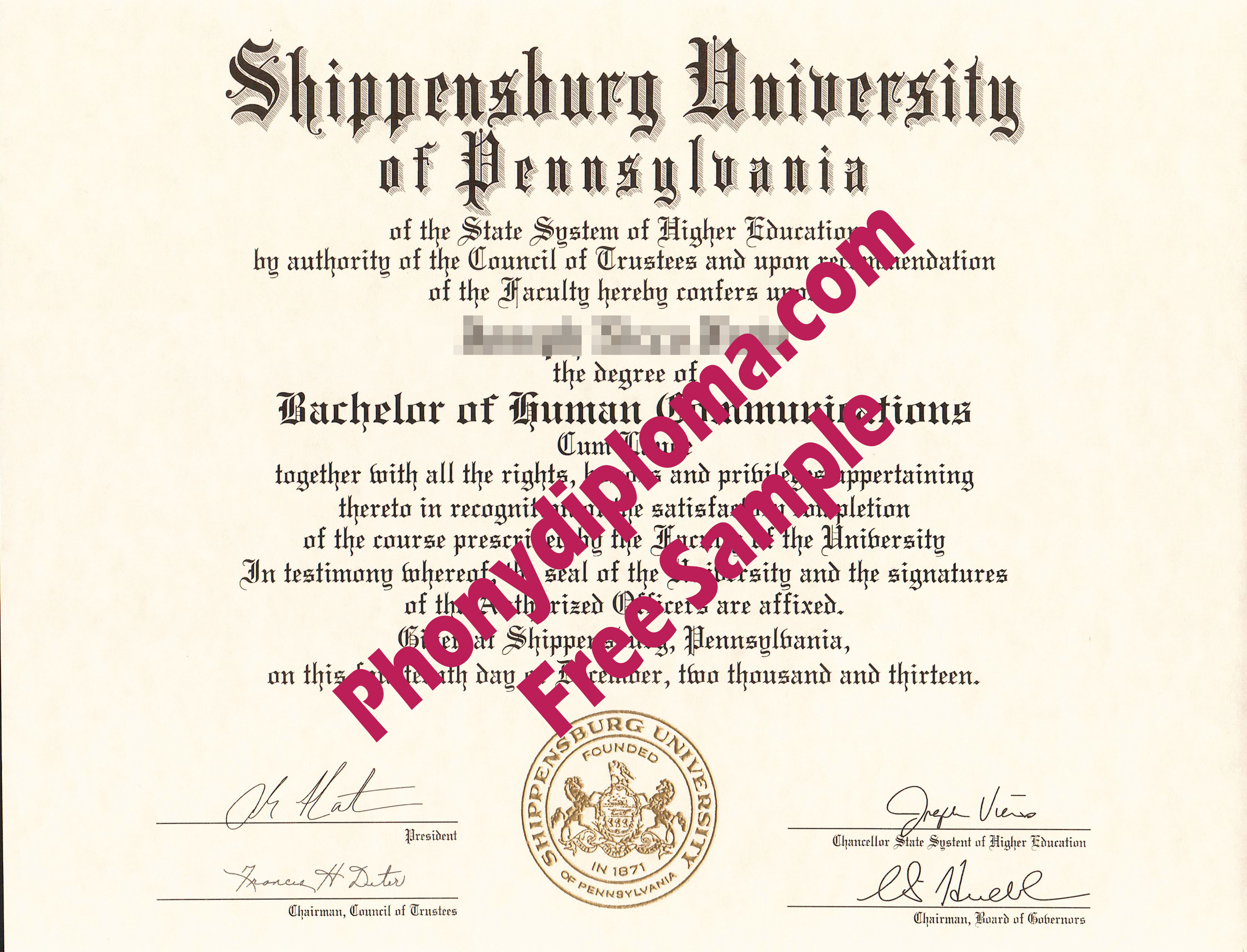 Shippensburg University Of Pennsylvania Free Sample From Phonydiploma