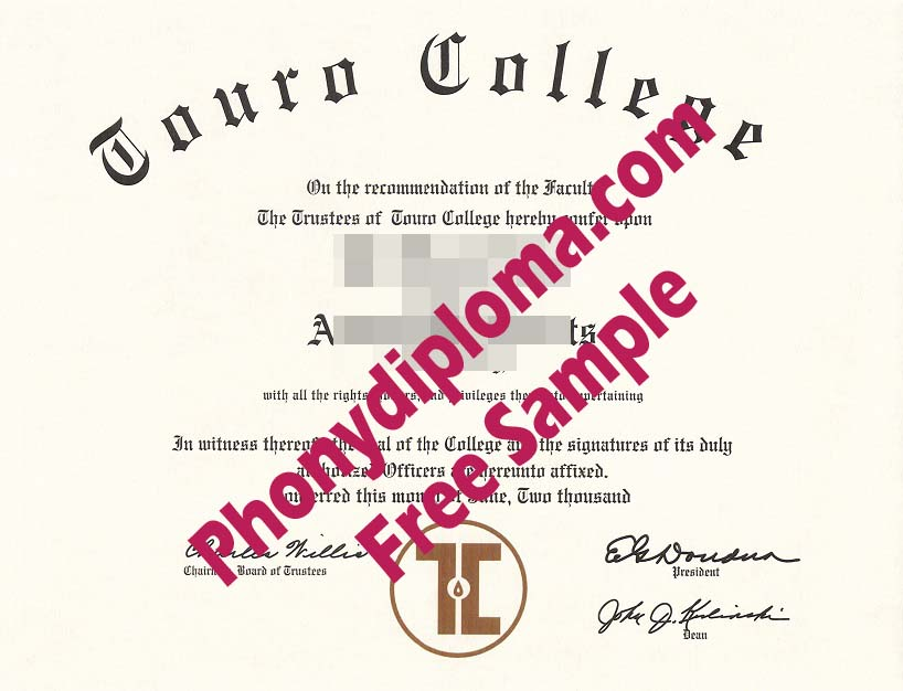 Touro College Free Sample From Phonydiploma