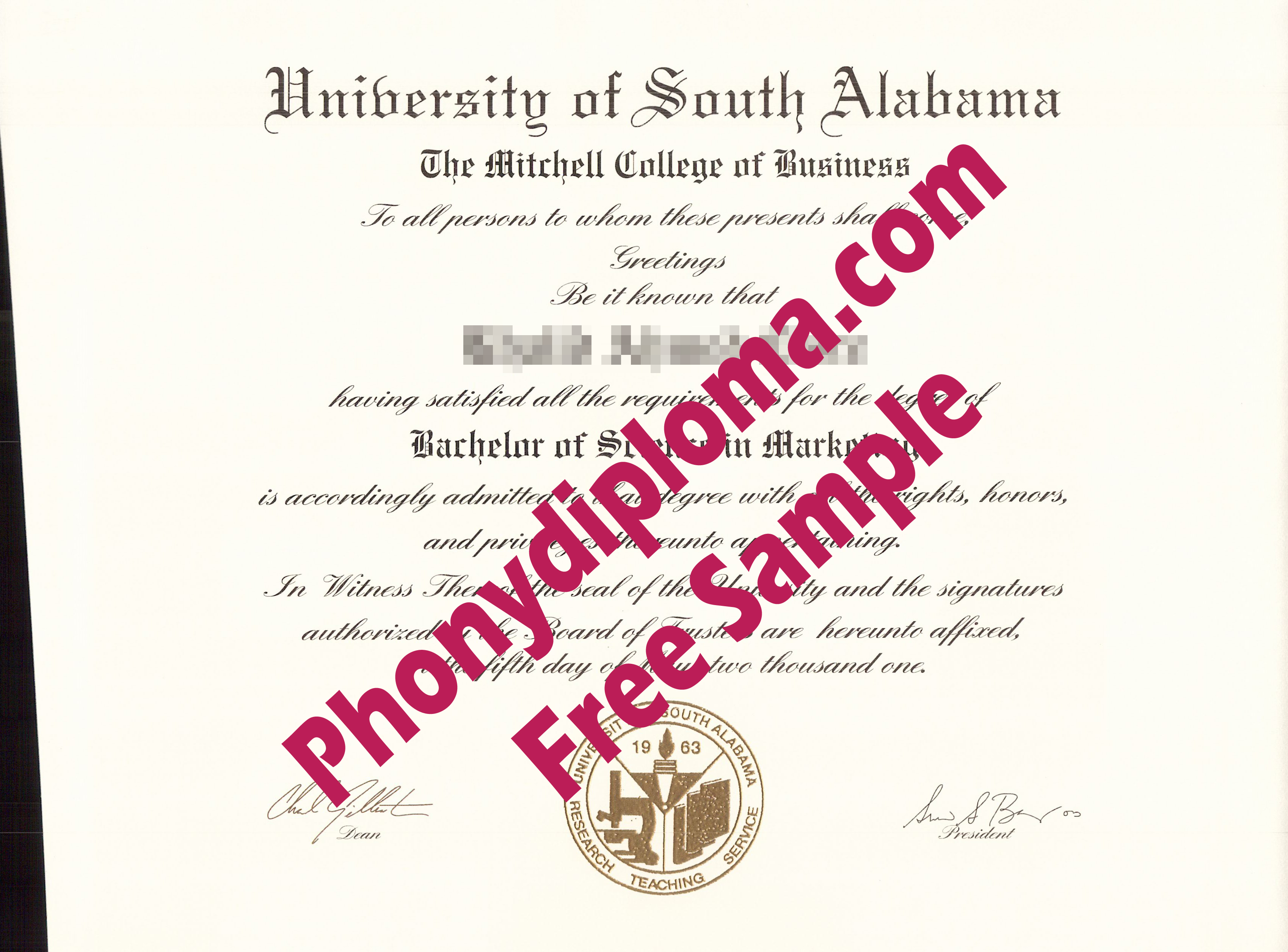 University Of South Alabama Free Sample From Phonydiploma