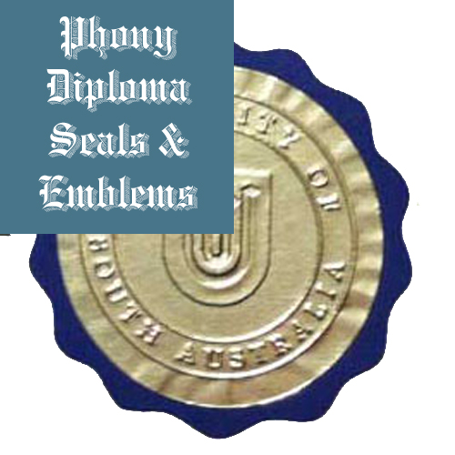 Embossed Gold Round Over Blue Scallop Seal Emblem Sample Phonydiploma