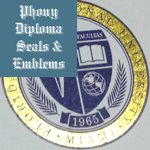 Flat Gold Foil With Blue Seal Emblem Sample Phonydiploma