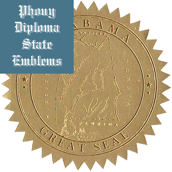 Phony Diploma Gold Foil State Seals and Emblems