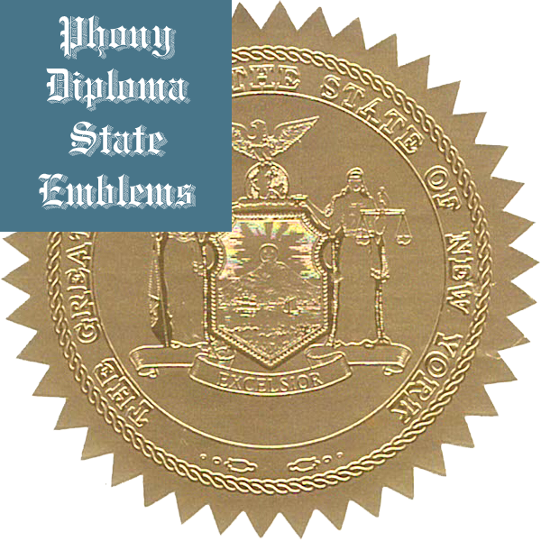 New York Embossed Gold State Emblem Applied To Fake Diplomas From Phonydiploma