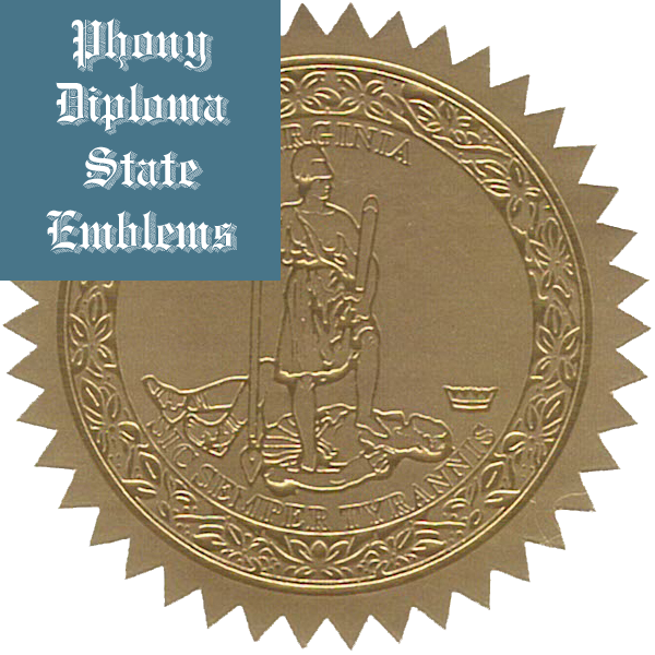 Virginia Embossed Gold State Emblem Applied To Fake Diplomas From Phonydiploma