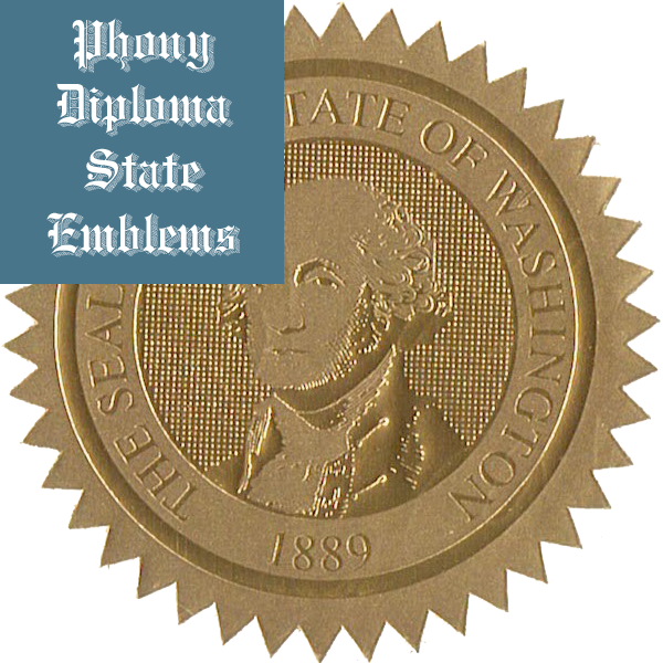Washington Embossed Gold State Emblem Applied To Fake Diplomas From Phonydiploma