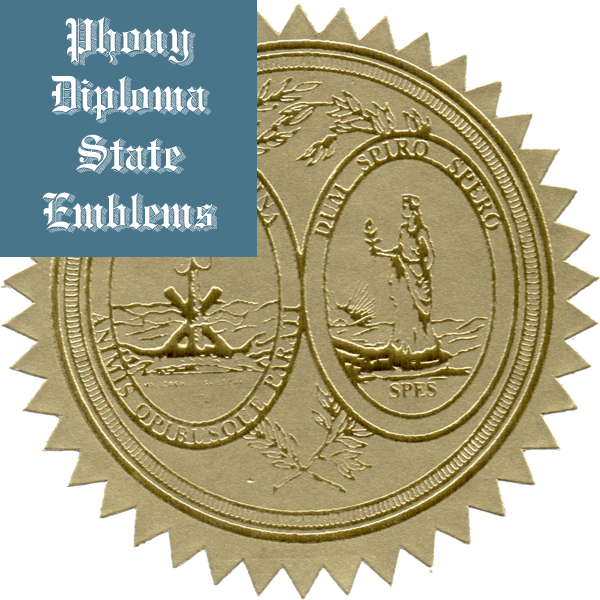 South Carolina Embossed Gold State Emblem Applied To Fake Diplomas From Phonydiploma