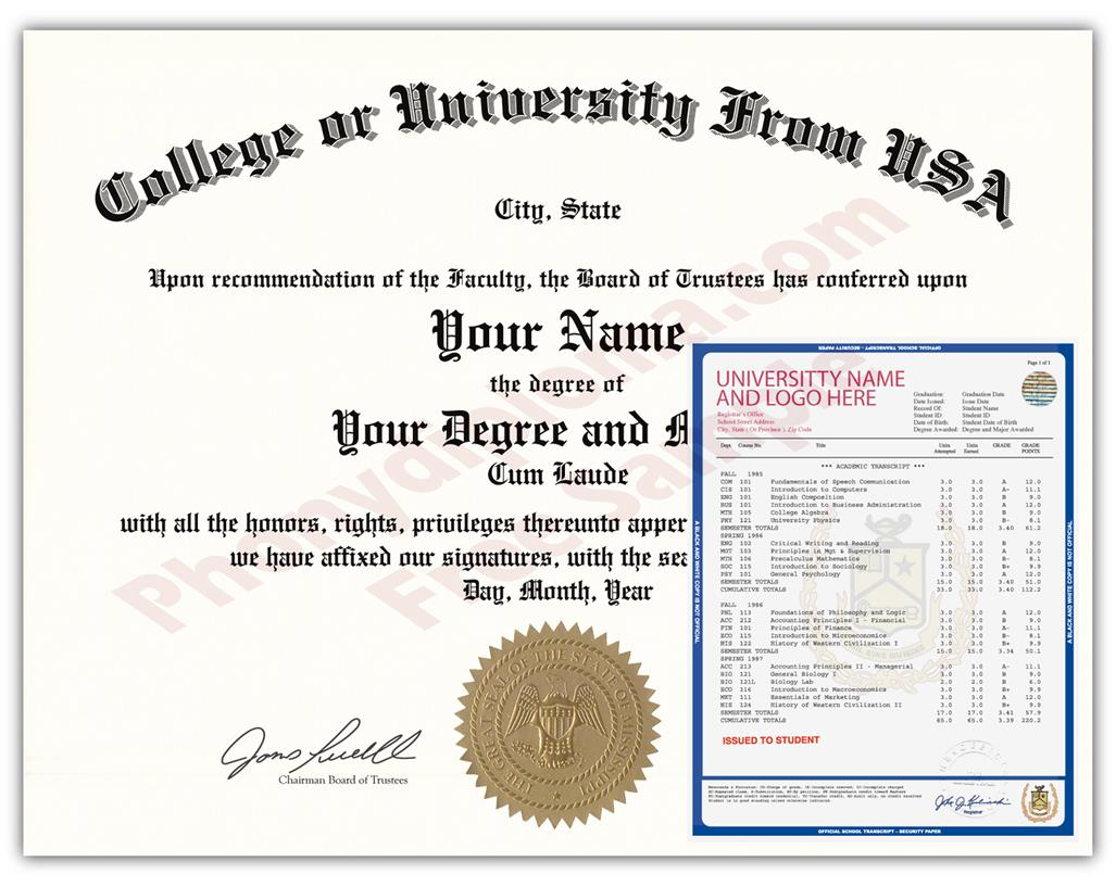 Buy Fake Diplomas & Transcripts From the USA