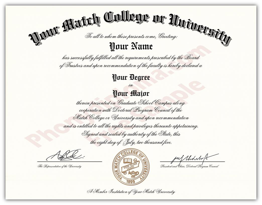 fake diploma actual design match raised gold seal diploma