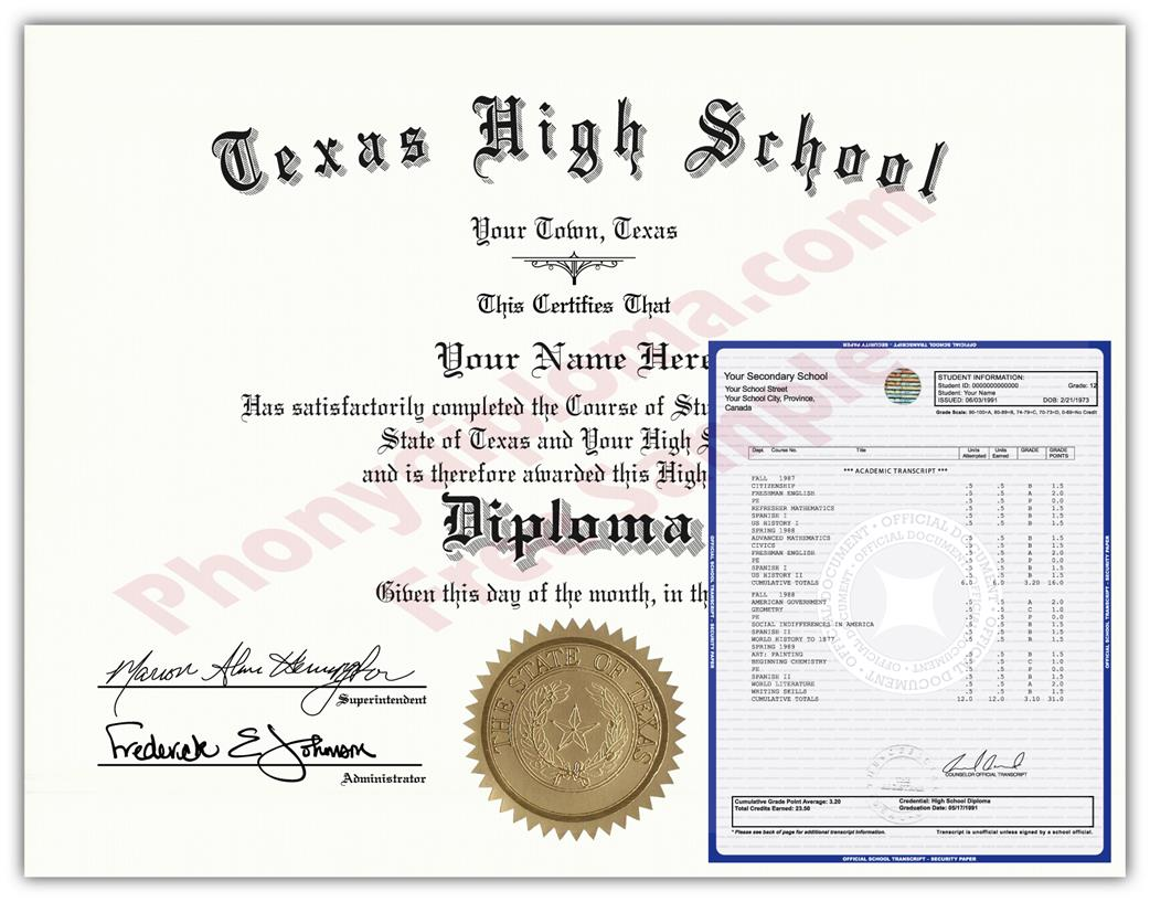Fake High School State Design Diplomas & Transcripts