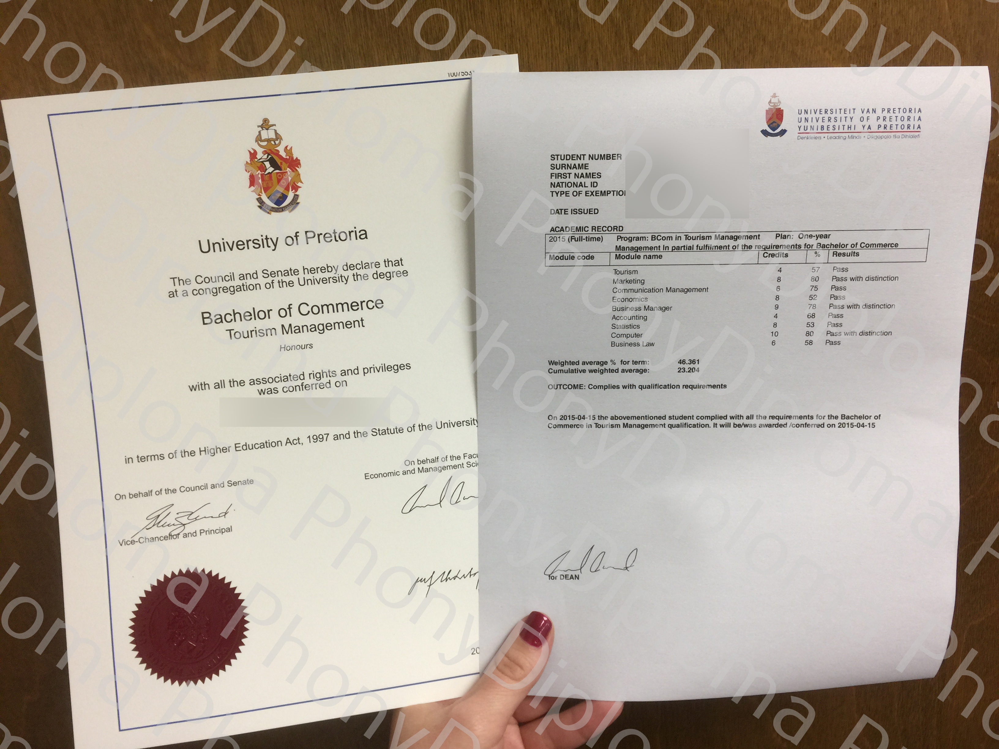 Fake Diploma and Transcripts from African University