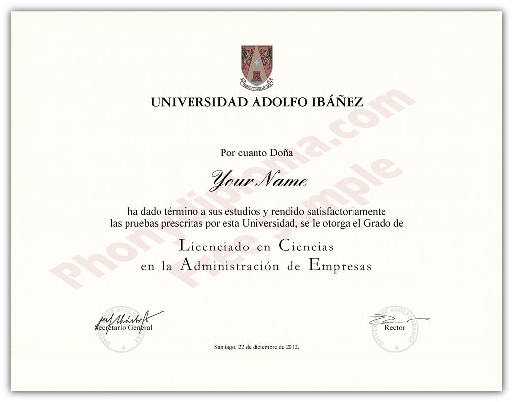 Fake Diploma from Chile University Chili D