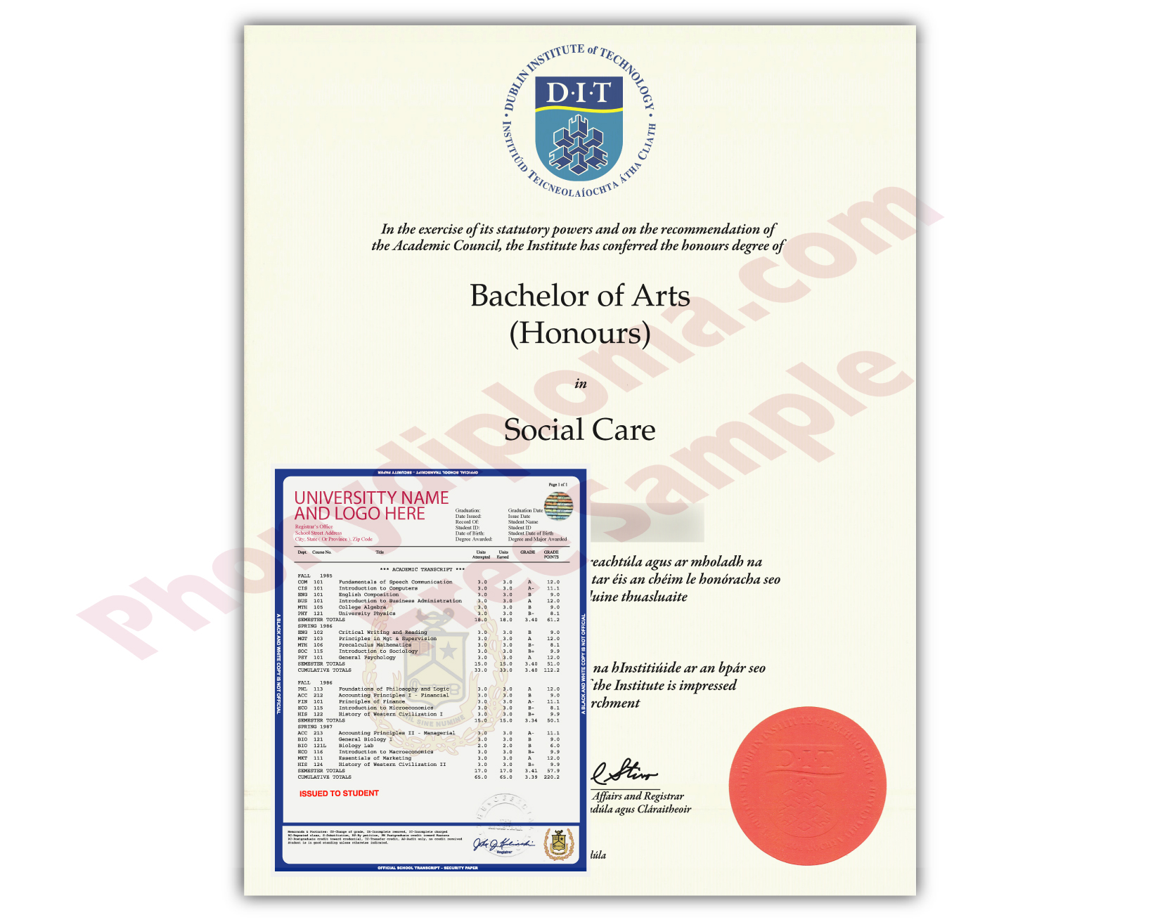 Fake Diploma and Transcripts from Ireland University