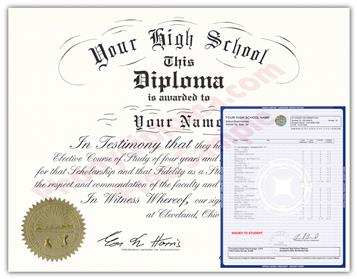 Fake High School Decade Design Diploma and Transcript