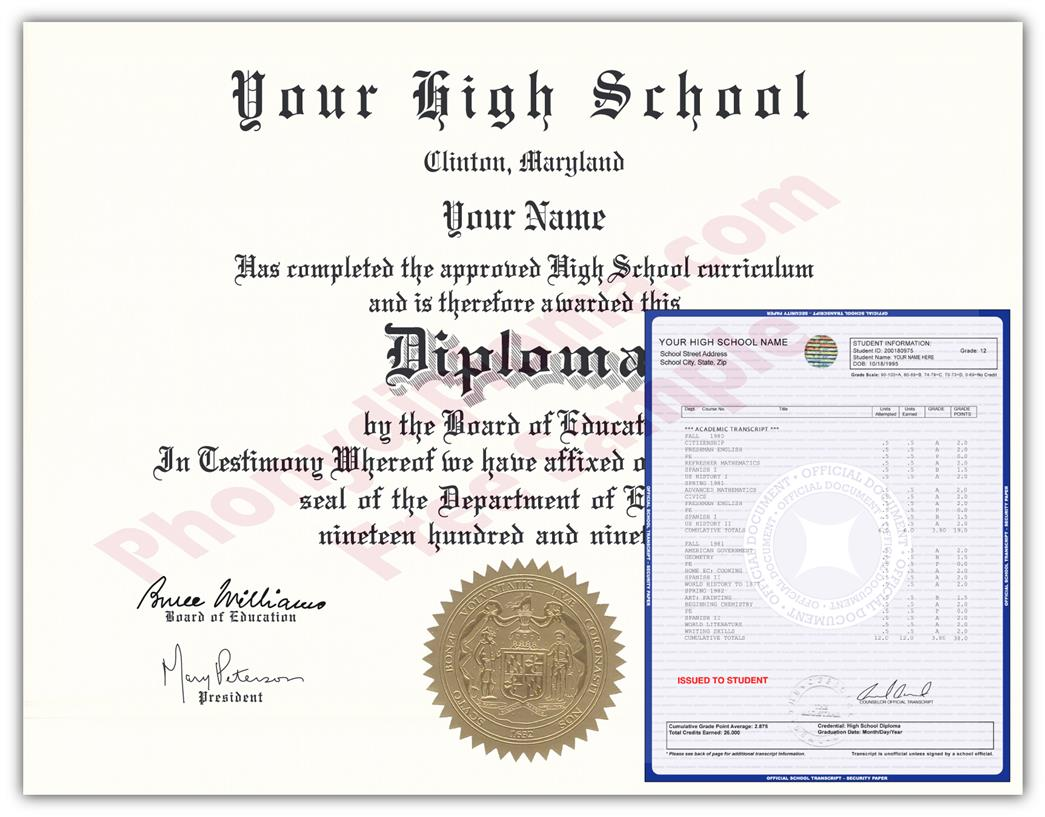 Fake High School Regional Design Diploma & Transcript