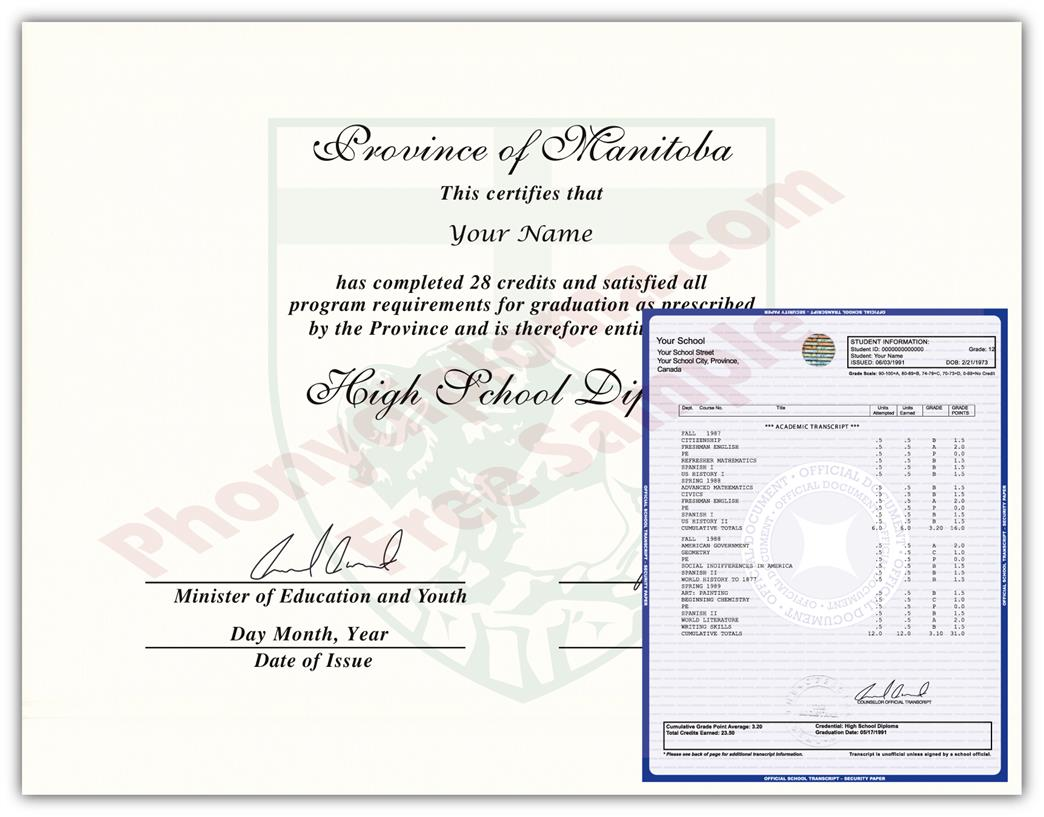Canada Fake High School Diploma & Transcript