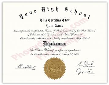 Fake High School Stock Design Diplomas