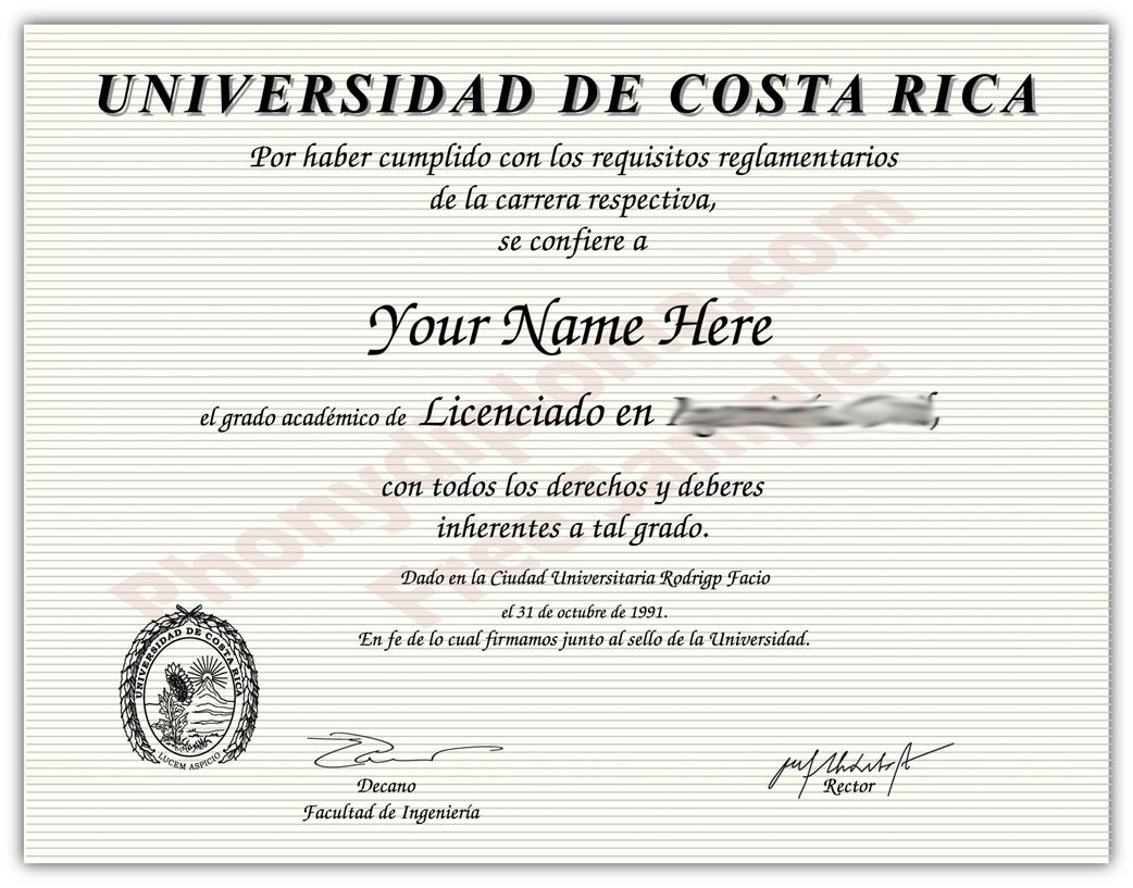Buy Fake Diplomas and Transcripts from Costa-Rica